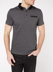 Black Twill Jersey Polo Shirt