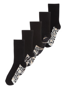 5 Pack Sparkle Animal Footbed Socks