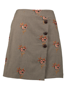 Multicoloured Dog Tooth Embroidered Mini Skirt
