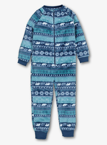 Blue Polar Bear Fairisle Fleece All In One (3-12 years)