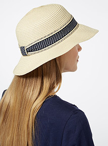 Natural Band Cloche Hat