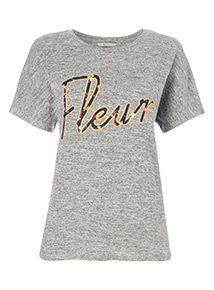 Grey Embroidered 'Fleur' Slogan Top
