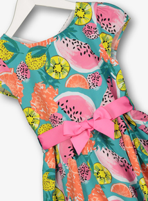 Multicoloured Fruit Print Occasion Dress (3 - 14 years)