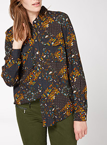 Multi-Coloured Diamond Patterned Western Shirt