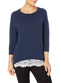Navy Lace Cut And Sew Top