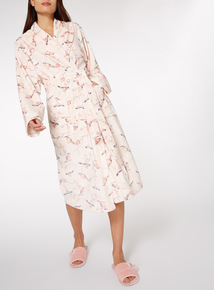 Bird Printed Dressing gown