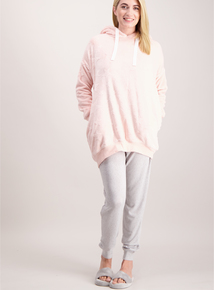 Pink Star Embossed Long Length Hoody