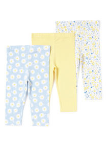 Blue and Yellow 3 Pack Daisy Leggings (0-24 months)