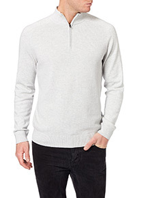 White Pique Stitch Half Zip Jumper