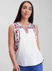 b768c00cab7 White Embroidered Notch Neck Shell Top