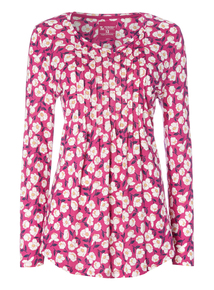 Pink Floral Pintuck Pleat Top