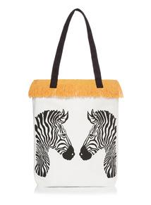 Zebra Print Frayed Canvas Tote Bag