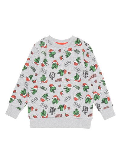 Multicoloured Christmas Dino Sweat Top (3-14 years)