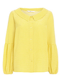 Yellow Open Collar Puff Sleeve Blouse