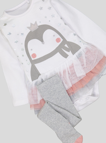 Christmas Penguin TuTu Bodysuit and Tights (0- 24 months)