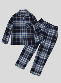 Blue Woven Checked Long-Sleeved Pyjamas (1.5 - 12 Years)