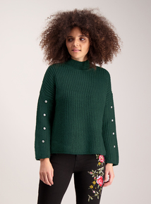 Dark Green Cable Knitted Jumper With Metal Studs