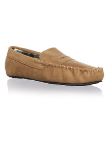 Stone Microsuede Slip On Moccasin
