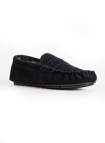 Navy Suede Saddle Moccasin Slipper