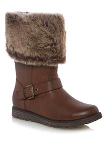 Brown Fur Trim Long Boots