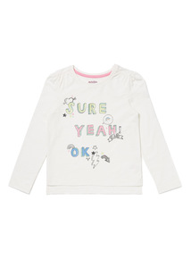 Cream Good Vibes Glitter Top (9 months-6 years)