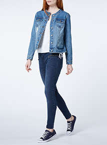 Mid Denim Collarless Jacket