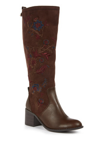 Brown Embroidered Long Boot