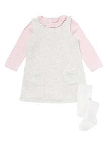 Quilted Pinny, Bodysuit & Tights Set (0-12 months)