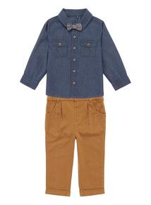 Boys Navy Smart Shirt & Trousers Set (0-24 months)