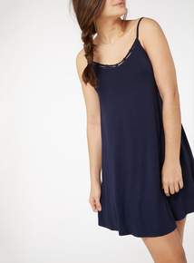 Navy Lattice Trim Dress