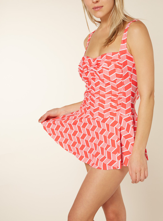 Red Geometric Tummy Control Skirted Swimsuit