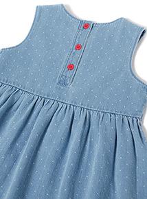 Denim Elephant Embroidered Dress (0-24 months)