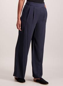 Navy Pinstripe Wide Leg Trousers
