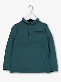Dark Green Long Sleeve Polo Top (3-14 years)