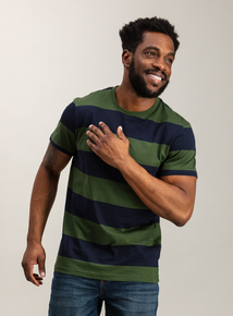 Khaki & Navy Block Stripe Crew Neck T-Shirt