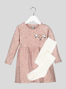 Pink Puppy Pals Dress and Tights Set (9 months-6 years)