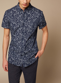 Premium Navy Slim Fit Floral Shirt With Stretch