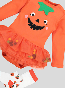 Halloween Orange Pumpkin Tutu Bodysuit Set (0-24 months)