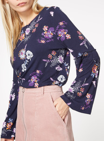 Floral Print Balloon Sleeve Top