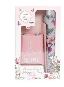 Totes Umbrella and Shopper Gift Set