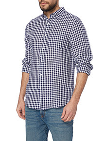 Navy Linen Gingham Shirt