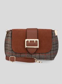 Brown Check Cross Body Bag