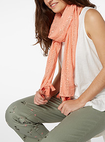 Coral Sequin Scarf