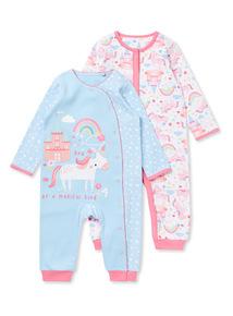 2 Pack Multicoloured Unicorn Sleepsuits (Newborn-24 months)