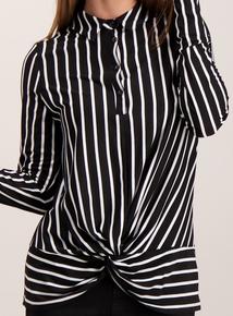 Monochrome Striped Twist Front Blouse