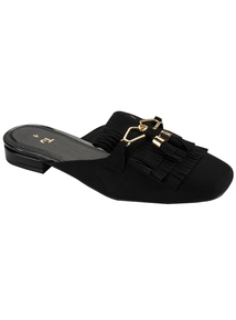Black Tassel Slip On Loafer Mule