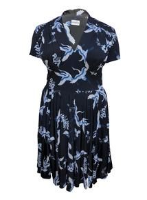 EMILY Black & Blue Dita 1940s Jersey Short Sleeve Dress