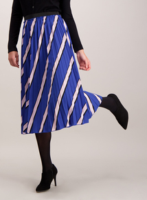 Blue Diagonal Stripe Pleated Skirt