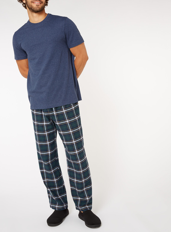 Mens Navy Checked Pyjama Set  cf327d043