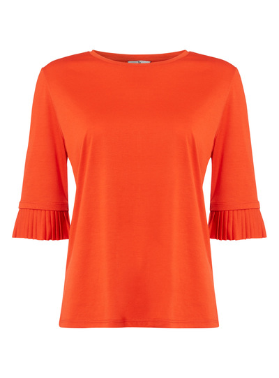 Red Pleated Sleeve Top